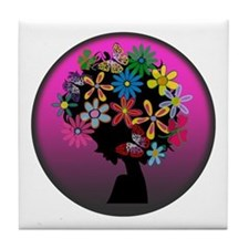 Colorful-BOMBER HEAD (Round) Tile Coaster