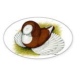 Bokhara Trumpeter Pigeon Oval Sticker