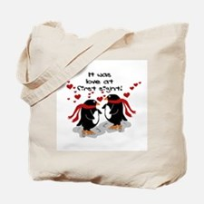 Penguin Love at First Sight Tote Bag