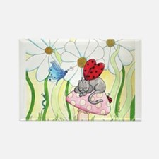 Ladybug Fairy Cat Rectangle Magnet