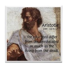 Aristotle Education Quote Tile Coaster