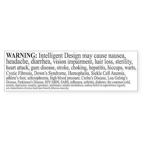 Intelligent Design Warning Bumper Sticker