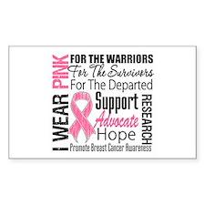 Pink Ribbon Tribute Rectangle Sticker 10 pk)