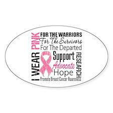 Pink Ribbon Tribute Oval Sticker (10 pk)