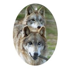Grey Wolves Oval Ornament