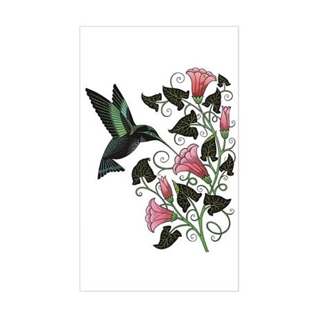 Garden Hummingbird Rectangle Sticker