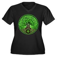 Circle Celtic Tree of Life Women's Plus Size V-Nec