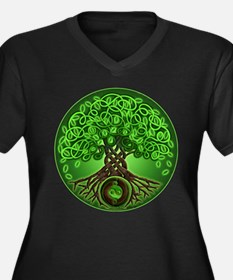 Circle Celtic Tree of Life Women's Plus Size V-Nec