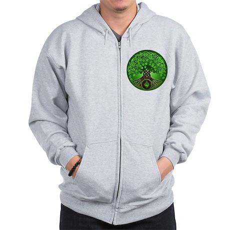 Circle Celtic Tree of Life Zip Hoodie