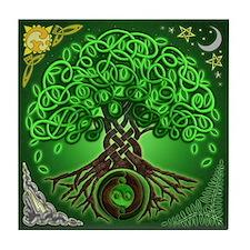Circle Celtic Tree of Life Tile Coaster
