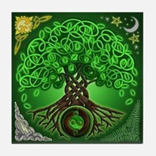 Circle Celtic Tree of Life Tile Coaster