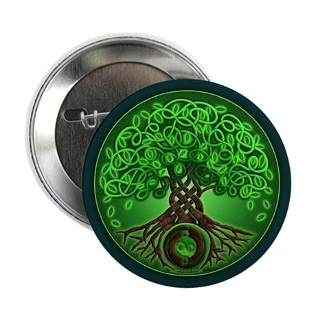 """Circle Celtic Tree of Life 2.25"""" Button"""