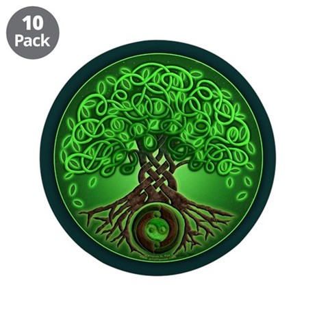 """Circle Celtic Tree of Life 3.5"""" Button (10 pack)"""