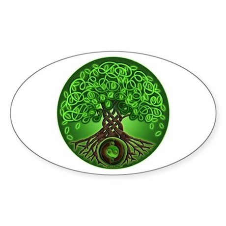 Circle Celtic Tree of Life Oval Sticker