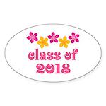 Floral School Class 2018 Oval Sticker (50 pk)
