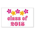 Floral School Class 2018 Rectangle Sticker 50 pk)