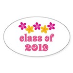 Floral Class Of 2019 Oval Sticker (50 pk)