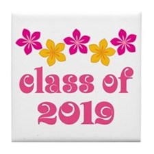 Floral Class Of 2019 Tile Coaster