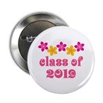 """Floral Class Of 2019 2.25"""" Button"""
