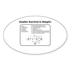 """Zombie Mathematical Model"" Oval Decal"
