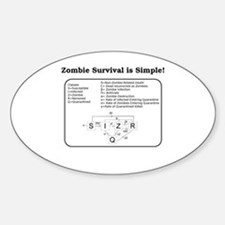 """""""Zombie Mathematical Model"""" Oval Decal"""