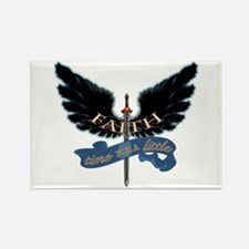 Faith on Angel Wings Rectangle Magnet