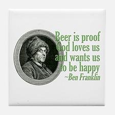Beer, Love, God Tile Coaster