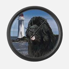 Newfoundland dog and Lighthou Large Wall Clock