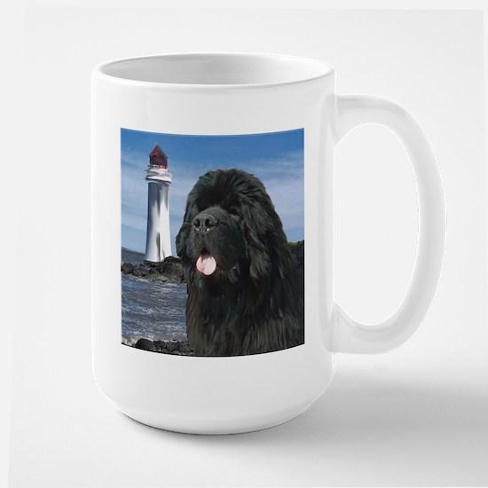 Newfoundland dog and Lighthou Large Mug