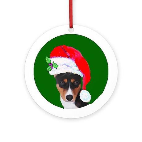 Basenji Santa Ornament (Round)