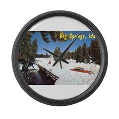 1950's Winter at Big Springs Large Wall Clock