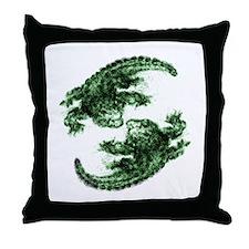 Funny Alligator wrestling Throw Pillow