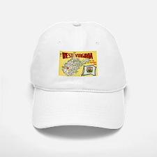 1950's West Virginia Map Baseball Baseball Cap