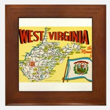 1950's West Virginia Map Framed Tile