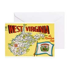 1950's West Virginia Map Greeting Card