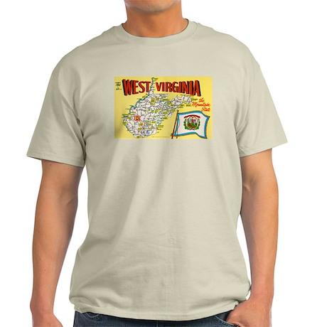 1950's West Virginia Map Light T-Shirt