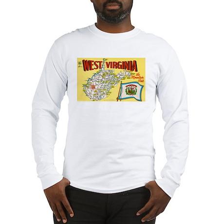 1950's West Virginia Map Long Sleeve T-Shirt