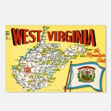 1950's West Virginia Map Postcards (Package of 8)