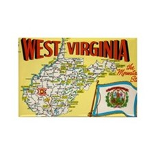 1950's West Virginia Map Rectangle Magnet