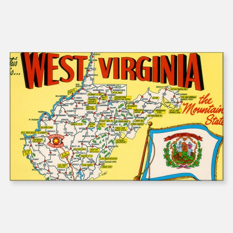 1950's West Virginia Map Rectangle Decal