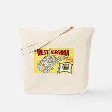 1950's West Virginia Map Tote Bag