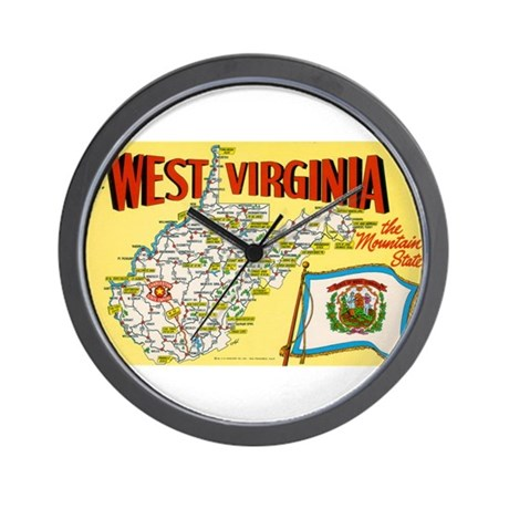 1950's West Virginia Map Wall Clock