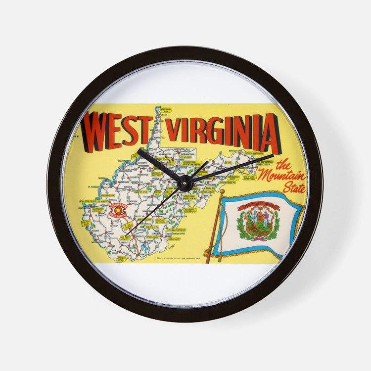 1950's West Virginia Map Wall Clock