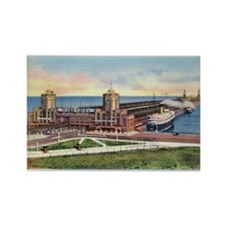 1930's Chicago's Navy Pier Rectangle Magnet