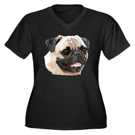 Pug Dog Women's Plus Size V-Neck Dark T-Shirt
