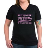 25 birthday Womens V-Neck T-shirts (Dark)