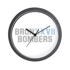 BRONX BOMBERS GREY BLUE TYPE Wall Clock