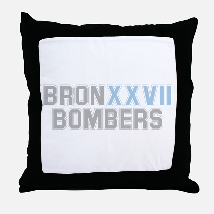 BRONX BOMBERS GREY BLUE TYPE Throw Pillow