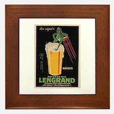 French Frog Beer Ad Framed Tile