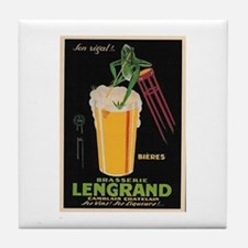 French Frog Beer Ad Tile Coaster